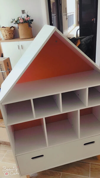 PRE ORDER - MINU House Shape Storage Unit/Bookcase-Orange Pink - Mini Me Ltd