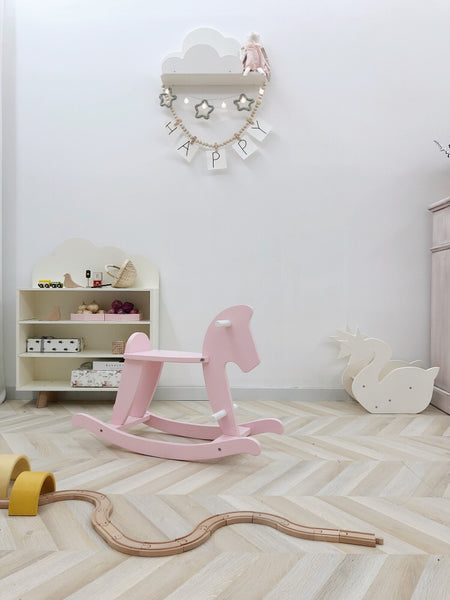 Wooden Rocking Horse -Pink - Mini Me Ltd