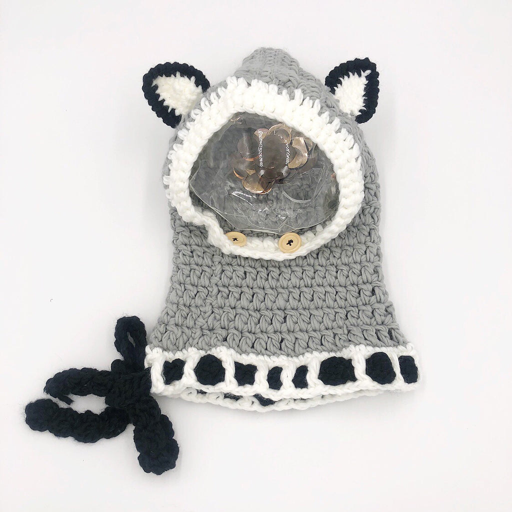 Fox #3 Grey Knitted Hat(5-18Y) - Mini Me Ltd