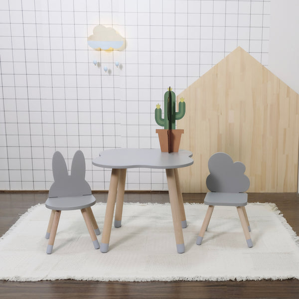 Grey FUN Wooden Kids Table and Chairs Set - Mini Me Ltd