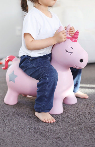 Pink Unicorn Bouncy Horse Hopper - Bouncing Animal - Mini Me Ltd
