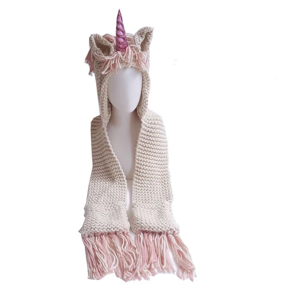Pink Horn Unicorn Kids Knitted Hat (2Y-6Y) - Mini Me Ltd