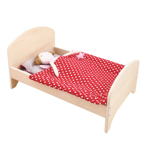 Wooden Doll Bed + Bedding Set (Red) - Mini Me Ltd