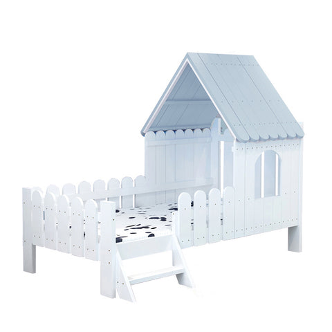 Solid Wood Kids House Bed-Light Blue - Mini Me Ltd