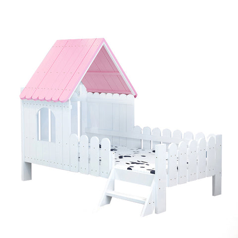 Solid Wood Kids House Bed-Pink - Mini Me Ltd