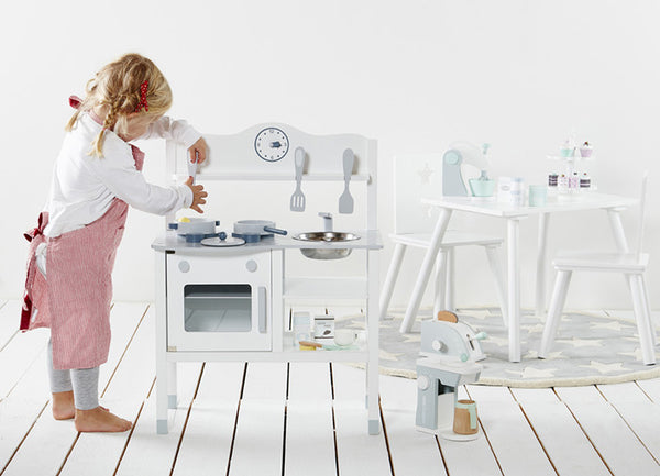 White Wooden Play Kitchen Set - Mini Me Ltd