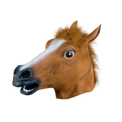 1Pcs Horse Head Animal Masks Scary Mask Creepy Halloween Costume Fur Mane Realistic Latex Masks For Festival Game,Q