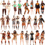 2018 Men Women African Original Indian Savage Costume Adults Wildman Cosplay Costumes Halloween Carnival Dress Party Decor