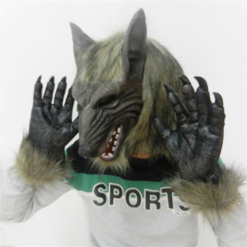 2018 Scary Wolf Mask With Gloves Creepy Halloween Costume Fur Mane Latex Realistic Horror Devil Masks Masquerade Props Cosplay & 2018 Scary Wolf Mask With Gloves Creepy Halloween Costume Fur Mane ...