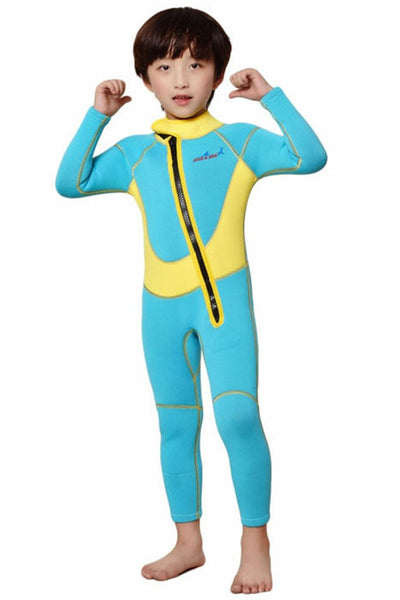 0d77b1a3f3e Neoprene Wetsuit for Kids Boys Girls One Piece Swimsuit Yellow-2.5MM-Long XS