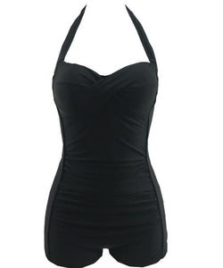 22c167a6a3d29 Welldressing Women s Retro Style One Piece Ruched Monokinis Swimsuit Black  Medium