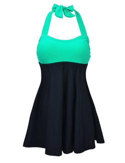 d4959973fa947 JOYMODE Women s Halter Neck High Waisted Swimsuits One Piece Skirtini Cover  Up Swimdress Green   Black
