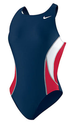 941efb85ca Nike Girls  Team Color Block Power Back Tank Swimsuit Navy Blue   Red Small