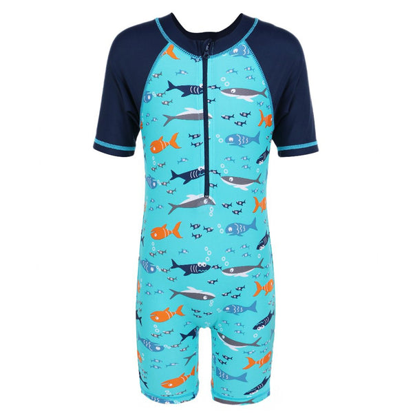 97078b2d13 TFJH Kids Boys Swimsuit UPF 50+ UV Sun Protective One-Piece Shark Fish 3