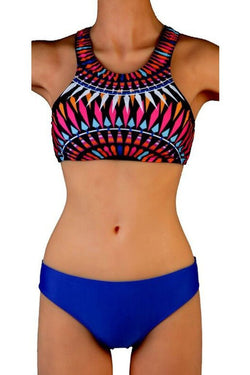 f0e1ba09c3 Leefi Unique Leisure Printed Low Waist Two Piece Plus Size Fission Swimsuit  Blue Large