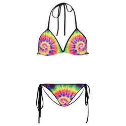 InterestPrint Tie Dye Custom String Bikini Swimsuit Swimwear Bathing Suit Beachwear XL/12 US size