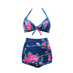 b87e3ff989 JOYMODE Swimsuits for Women Swimwear Bikini Push Up High-waisted Floral  Print Bikini Set Navy