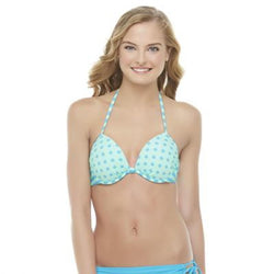 Joe Boxer Women's Push-Up Bikini Top - Polka Dot & Striped Medium