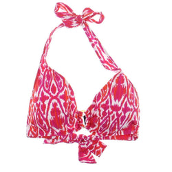 7fc1920386100 LAUREN by Ralph Lauren Women s Ikat Tie Back Halter Top Bright Pink Multi 14
