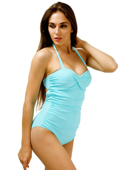 aa8771a30 Retro Halter Pin Up Swimsuits for Women Cute One Piece Bathing Suits  Swimwear with Ruffles Mint