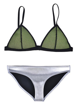 JIANLANPTT Sexy Women Neoprene Bikini Swimwear Mesh Top & Bottom SML Green S(US0-2)