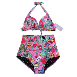 iShine Women High-waisted Retro Bikini Set Swimsuit with Skull Designs Pink2 Large