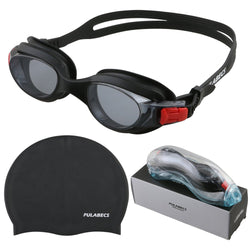 8804cd5e75 Pulabecs Swimming Goggles And Cap With Anti-Fog UV 400 Clear Lenses For Man  And