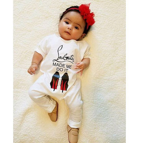 Baby Girl Clothes Tiny Cottons Autumn 2017 MADE ME DO IT Letter White Long Sleeve Jumpsuit Infant Clothing Baby Onesie Costume