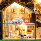 Diy Doll House Kit with Tin Box Theatre Dollhouse Miniature Wooden Toys for Children Home Toy Wooden House for Doll Kids Gift