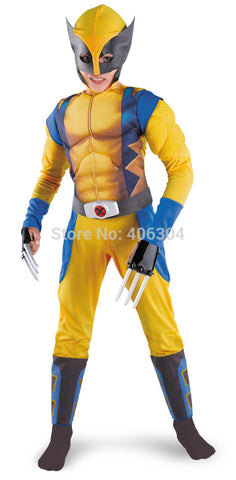Free shipping,novelty halloween cosplay avengers costume wolverine chidren full set muscle performance clothing,mask.gloves