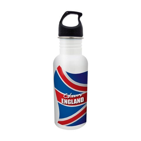 Hot Muggs® Cheers England Stainless Steel Sports Water Bottle, 600ml. Ideal for Football Lovers