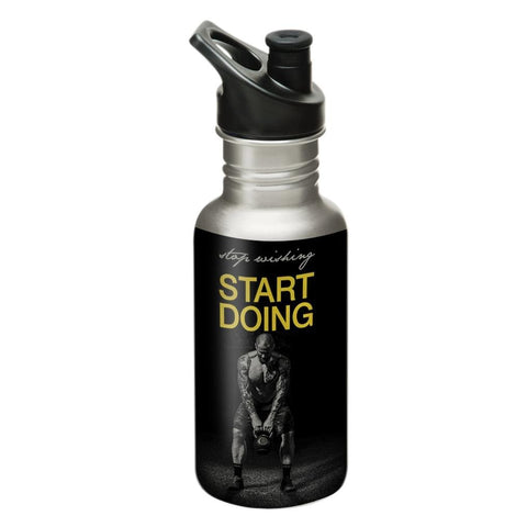"Hot Muggs® Men's ""Start Doing"" - Stainless Steel Sports Water Bottle, 600ml. Ideal for Gyms, Running & Sports"