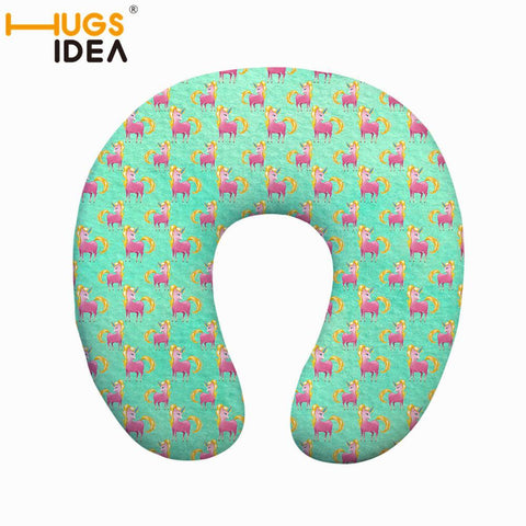 HUGSIDEA Unicorn Print U-shape Travel Pillow Memory Foam Neck Pillow Outdoor Comfort Airplane Pillow Polyester/Cotton Pillow