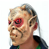 Halloween Scary Mask Horror Face Monster Head Mask with Red Eyes Gary Hair for Halloween Costume Party Masquerade Latex Masks