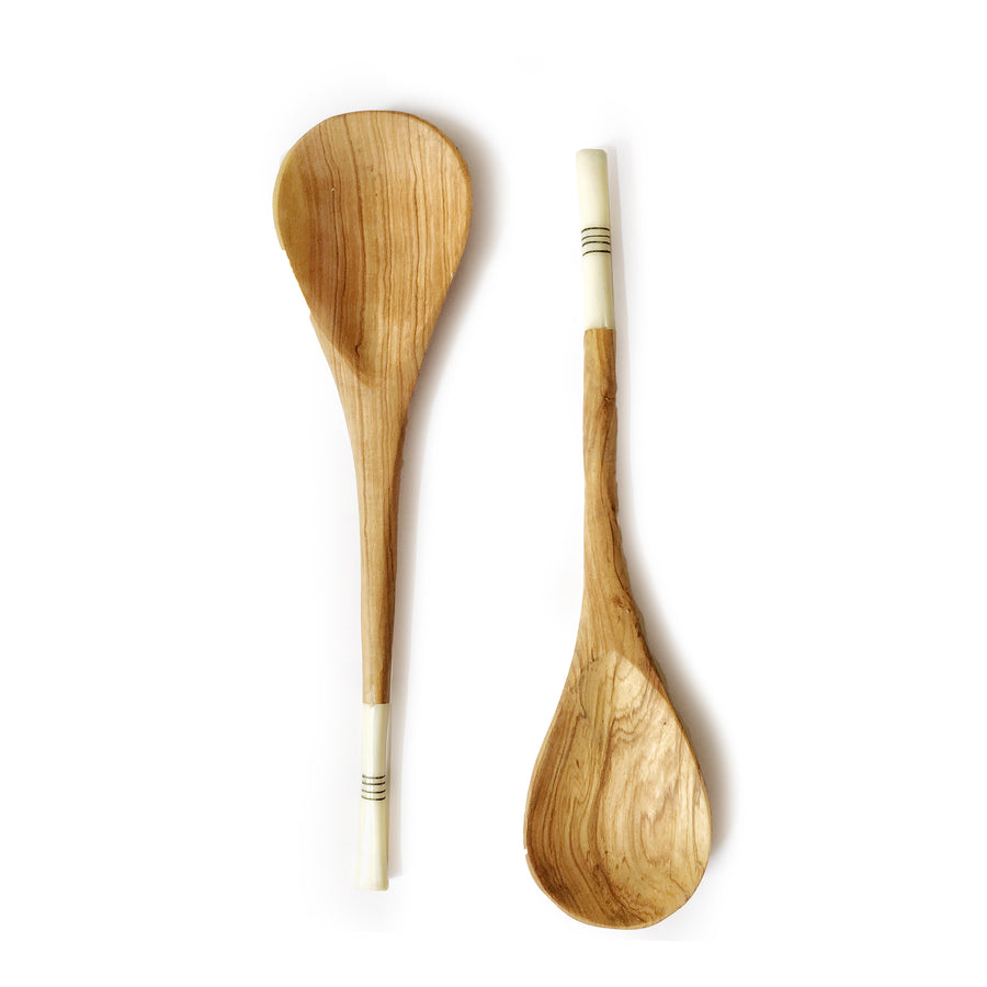 OLIVE WOOD SALAD SERVERS WITH BONE INLAY- BLACK/WHITE