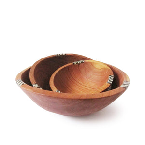 OLIVE WOOD AND BATIK SALAD BOWL SET