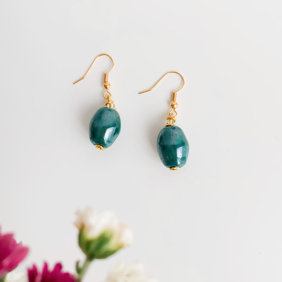 NYERI METALLIC GREEN EARRINGS - Ashepa Lifestyle