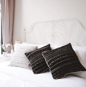 WHITE MUDCLOTH CUSHION