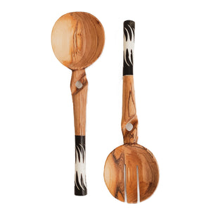 KENYA OLIVE WOOD SALAD SERVERS- BLACK/WHITE