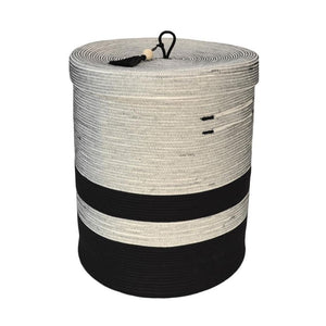 LIQUORICE LIDDED FLOOR BASKET LARGE - Ashepa Lifestyle