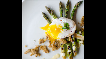 Grilled Asparagus with Poached Duck Egg - Wilding Snacks