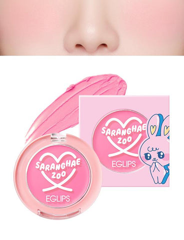 Eglips - NEW Saranghae Zoo Velvet Blusher 01 Lovely Pink
