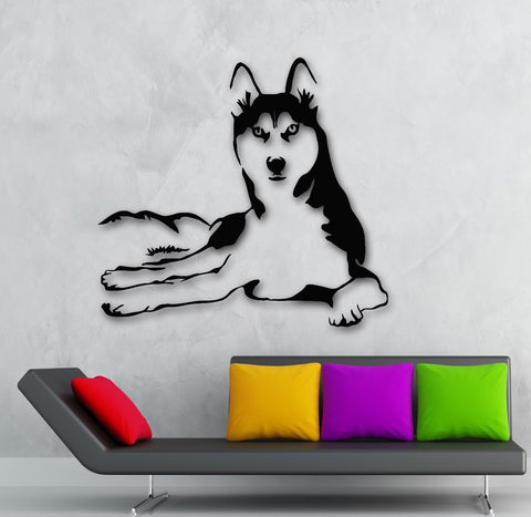 QT021  Husky Dog Sticker Stylish Fashion Zoo Animals Wall Decal Art Vinyl Sticker for Living room Home Decor