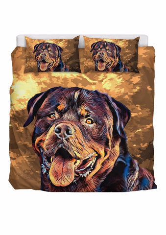 Rottweiler Bedding Set Hand Pianted Brown