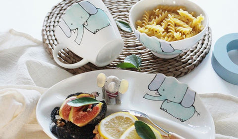 Elephant / Bunny / Lion kitchen set (plate, bowl and cup set)