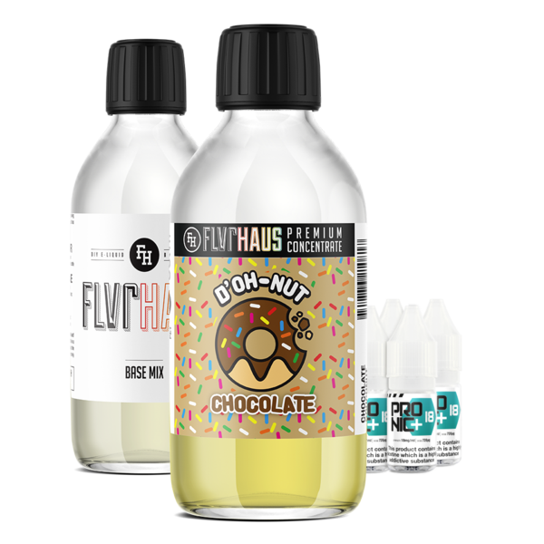 FLVRHAUS Eliquid Bundle - D'OH-NUT Chocolate - 250ml - MADE TO ORDER, SHIPS NEXT DAY