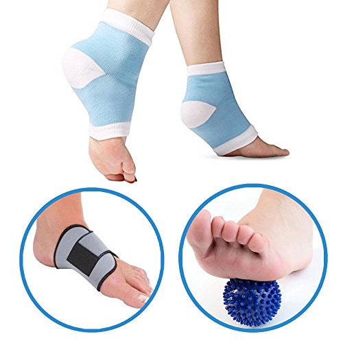 FootSpa Pro 5 Piece Plantar Fasciitis Kit, Gel Plantar Fasciitis Sleeve, Foot Arch Support, Massage Ball