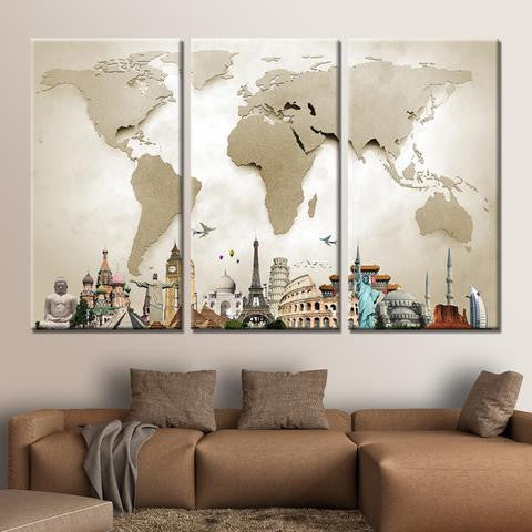 Modern hd 3 piece canvas world map babyfamilyhome for Toile decoration murale quebec