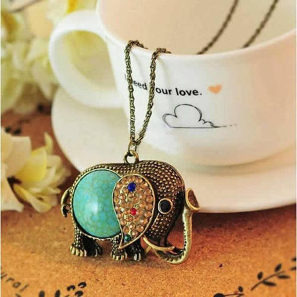 Vintage Turquoise Elephant Necklace