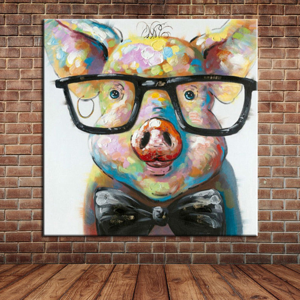 Pig Wearing Glasses Painting On Canvas Babyfamilyhome